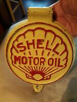 Vintage Original Embossed Shell Motor Oil Cast Iron Lubester Tank Lid Shell Sign