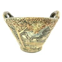 Antique Weller Pottery Forest Double Handle Jardiniere 6 Inch