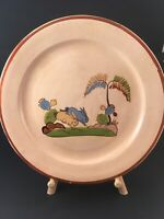 "Vintage Mexican Tlaquepaque Tourists Pottery 11"" Plate Bunny Rabbits 1940s"