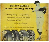 MICKEY MANTLE MLB BASEBALL COOPER TIRES HEAVY DUTY USA MADE METAL ADV SIGN