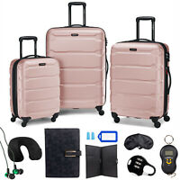 Samsonite Omni Hardside Nested Luggage Spinner Set Pink w 10pc Accessory Kit