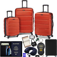 Samsonite Omni Hardside Luggage Spinner Set Burnt Orange w 10pc Accessory Kit