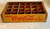 Vtg DRINK COCA COLA IN BOTTLES YELLOW Wood Crate Bottle Carrier CHATTANOOGA 1968