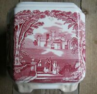 Antique Toile Vase Staffordshire Red Transferware Vintage Mason's Twinings LTD