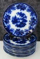 12 Antique Staffordshire Flow Blue Hong Pattern Ironstone 9 1 4quot; Luncheon Plates