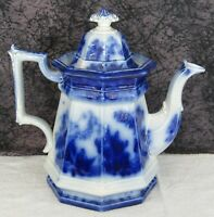 Antique Staffordshire Flow Blue Formosa Ironstone Coffee Pot or Teapot
