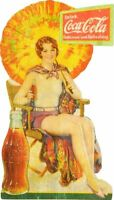 COCA COLA GIRL COLORFUL PARASOL HEAVY DUTY USA MADE METAL COKE ADVERTISING SIGN