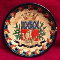 Vintage Emaux De Longwy French Faience 5-Inch Dish • Paris Coat Of Arms