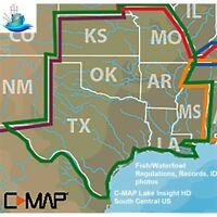 LOWRANCE C-MAP LAKE INSIGHT HD SOUTH CENTRAL US Traditional Look of Paper Charts