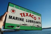 OLD STYLE RARE TEXACO MARINE GAS & OILTHICK STEEL SIGN USA MADE MINT