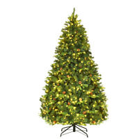 7Ft Pre-Lit Artificial Christmas Tree Hinged with 460 LED Lights
