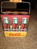 Vintage Style Coca Cola 6 Pack Metal Tin Box W Wire amp; Wood Handle