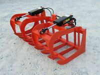 60quot; Dual Cylinder Root Rake Grapple Attachment Fits Kubota Tractor Loader QA