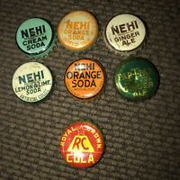 7 Great NEHI Cork-lined Bottle Caps.. to Include a Royal Crown And Par-T-Pak