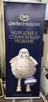 "Serta Sheep Standing Display Banner Sign & Stand 31"" x 82"" Perfect Sleeper"