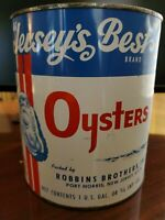 VTG ADVERTISING JERSEY'S BEST BRAND OYSTER 1 GALLON TIN CAN NOT PORCELAIN SIGN