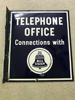 Antique Bell Systems Telephone Office Porcelain Flange Sign