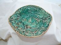 ANTIQUE MAJOLICA PLATE GRAPE FERN LEAVES 1800'S Green Yellow Flowers Relief