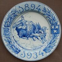 VERY RARE PORCELEYNE FLES DELFT CHARGER MADE IN 1934