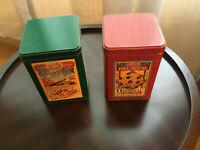 2 VNTG NESTLE TOLL HOUSE COOKIE TIN 1970'S LIMITED EDITION ORIGINAL COOKIE RED