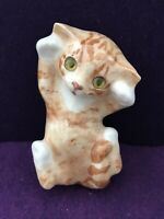 RARE Jenny Winstanley England Cat Glass Eyes Hand Painted  Brown porcelain