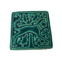 VTG~Motawi Tileworks Art Deco Stylized Cat Tile  Beautiful Forest Green~2.75""