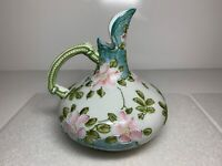 Nippon Moriage Beaded Ewer Carafe Pitcher Pink Flowers on Blue Green