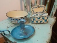 Lot Of 3 French Blue Enamelware Lustucru Match Box ,Bowl ,And Candle Holder