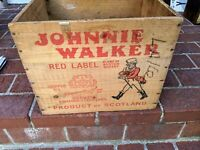Nice Mid century Johnnie Walker Red Label Wooden Shipping Crate w great graphics