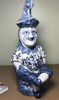 ANTIQUE FRENCH FAIENCE TOBY JUG Large POTTERY PITCHER FRANCE Blue And White