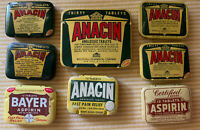 Vintage Pain Reliever 8 Advertising Tin Lot Bayer, Anacin, Certified