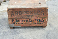 Large Antique Arbuckles Wood Wooden Coffee Box Crate Lady Liberty Angel Graphics
