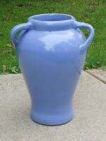 Vintage Zanesville Stoneware Company Blue Art Pottery 3 Handled Floor Vase 16quot;