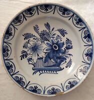 Antique Blue and White Delft Charger continental mid 18th Century c 1750