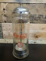 Vintage Glass Coca Cola Straw Dispenser with Chrome Plated metal lid Canister