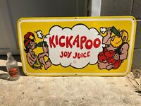 quot;KICKAPOO JOY JUICEquot; LARGE HEAVY PORCELAIN ADVERTISING SIGN 30quot;x 16quot; NEAR MINT