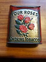1900#x27;s FOUR ROSES SMOKING TOBACCO ROLL OVER TOP POCKET TIN