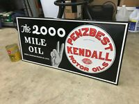 quot;KENDALL MOTOR OILquot; EMBOSSED METAL ADVERTISING SIGN 32.5quot;x 16.5quot; NEAR MINT NOS