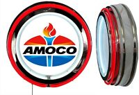 Amoco Oil Later Logo Sign Neon Sign RED Outside Neon Chrome Shell No Clock