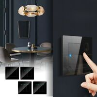 Black Glass Panel Smart Touch Switch Home Hotel LED Indicator Light Wall Switch $13.99