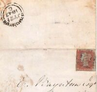 GB PENNY RED IMPERF VARIETY *Over inked Blur* NW Brighton Cover Letter 1847 BD75