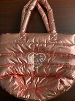 Justice Live Bag Tote NWT Girls Pink Travel School Puffer Metallic Large