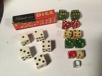 VINTAGE SETS OF MINI DICE RED WHITE GREEN CLEAR DIFFERENT SIZES BOX BAKELITE?