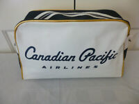 """Vintage Canadian Pacific Airlines Flight Carry On Bag 15"""" Vinyl Zippered"""