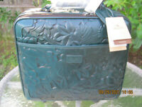 Patricia Nash Vellino Leather 16quot; Wheeled Trolley Bag Teal HSN $349.00