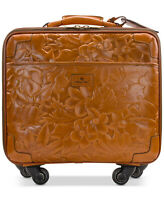 Patricia Nash Vellino Leather 16quot; Wheeled Trolley Bag Florence Tan HSN $349.00