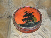 Collectible Vintage 1920's Red and Black Ship Cookie Cake  Tin Can 10
