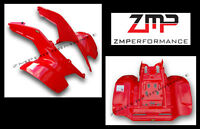 NEW HONDA TRX 250R FIGHTING RED PLASTIC FRONT AND REAR FENDERS