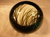 FABULOUS LARGE STEVEN LUNDBERG ART GLASS PAPERWEIGHT MOON RISING ON MARSH 1999