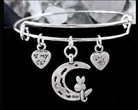 CAT amp; MOON amp; I ❤️ MY CAT 2 SIDED SILVER BANGLE JUST ADORABLE FOR CAT LOVERS $3.00